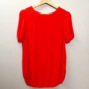 🍁 Reddish Orange Blouse H&M Keyhole Back Size 8